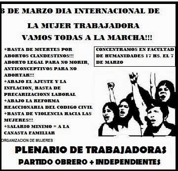 VIERNES 7 DE MARZO 17hs, MARCHA EN EL DIA DE LA MUJER TRABAJADORA
