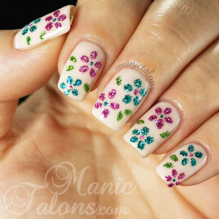 Loose Glitter Flower and Gel Polish Manicure