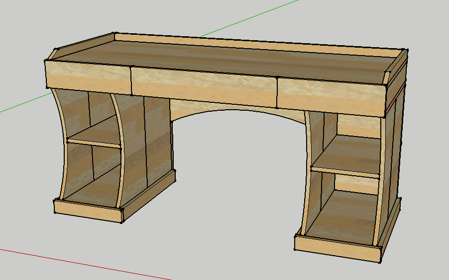 Timbo 39 s creations computer desk and side table revision for Complex table design