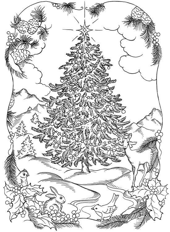 Charming the birds from trees vintage coloring pages pictures