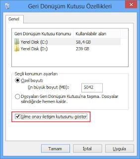 Windows 8 de silme işlemi sizden onaylama istemeden gerçekleşiyor.(Resimli Anlatım)