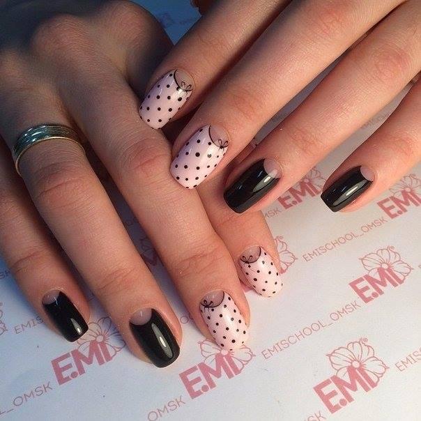 Black Dotted Nail art | Nails