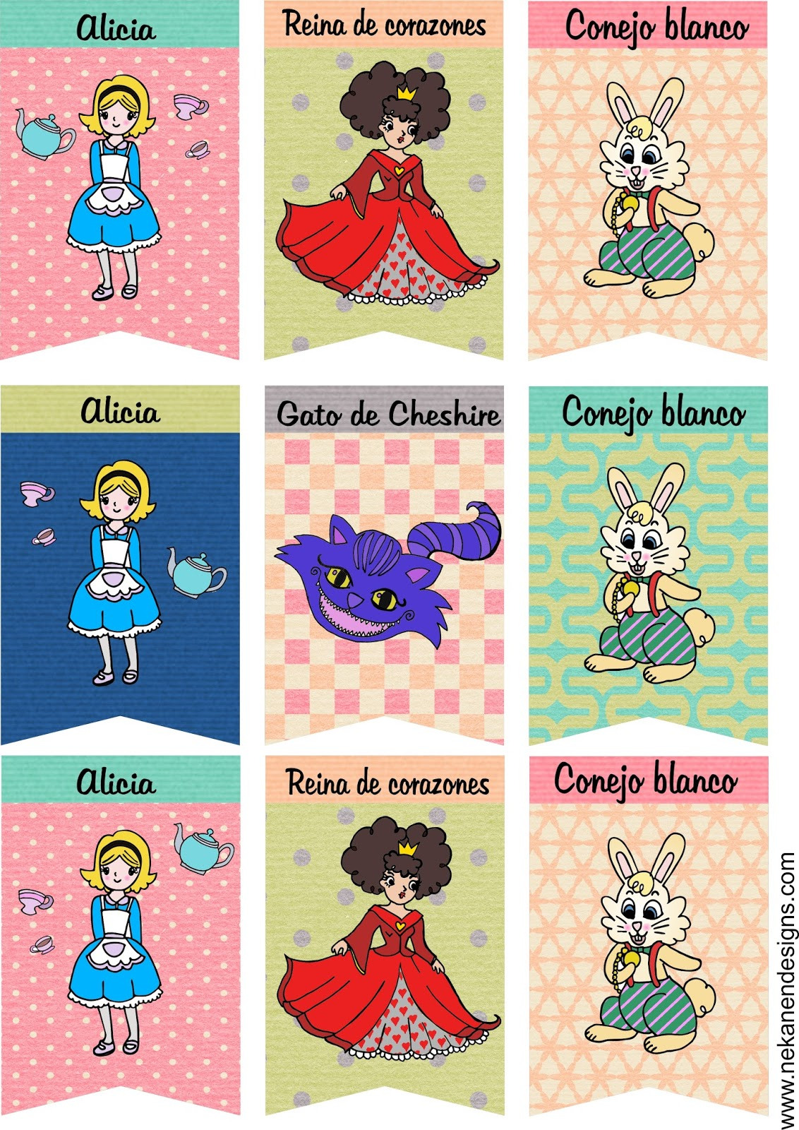 banderines alicia país maravillas kit fiesta free freebie printable wonderland