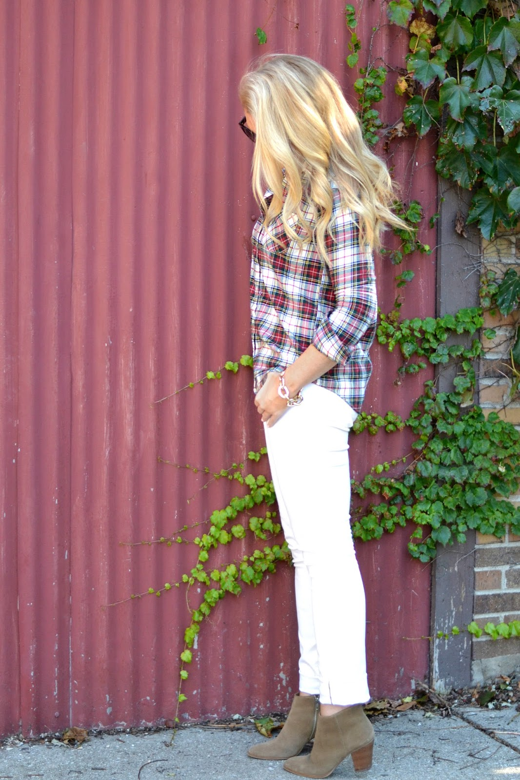 plaid-shirt-with-jcrew-white-jeans-and-booties