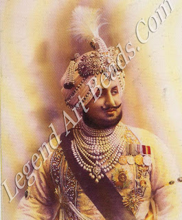 The Maharaja of Patiala, Bhupindar Singh, photo-graphed in Europe after the First World War. The spectacular sarpcch he is wearing has passed through several international sale rooms in recent years.