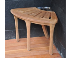 "19"" Grade-A Teak Corner Seat Shower Bench / Stool with Basket"