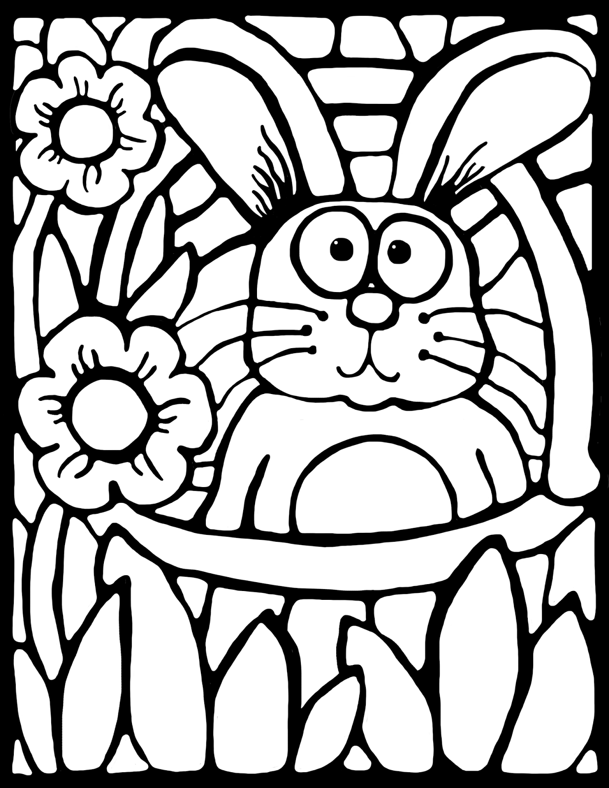 FREE adorable stained glass bunny coloring sheet for easter or springtime