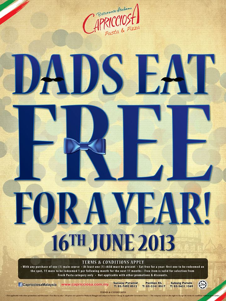 Dads Eat Free On Father's Day! So the big day is drawing closer and I expect Fathers all over the country are counting down the days until Sunday 21st of June, as that's when they are expecting to be treat like royalty for the day!