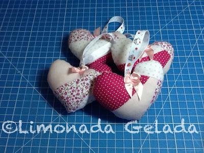 corações de patchwork