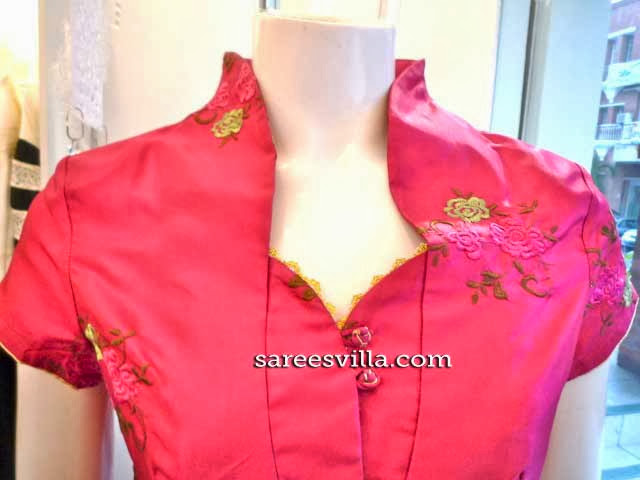 Stand Collar Neck Designs For Blouse : Chinese collar neck blouse designs smart casual