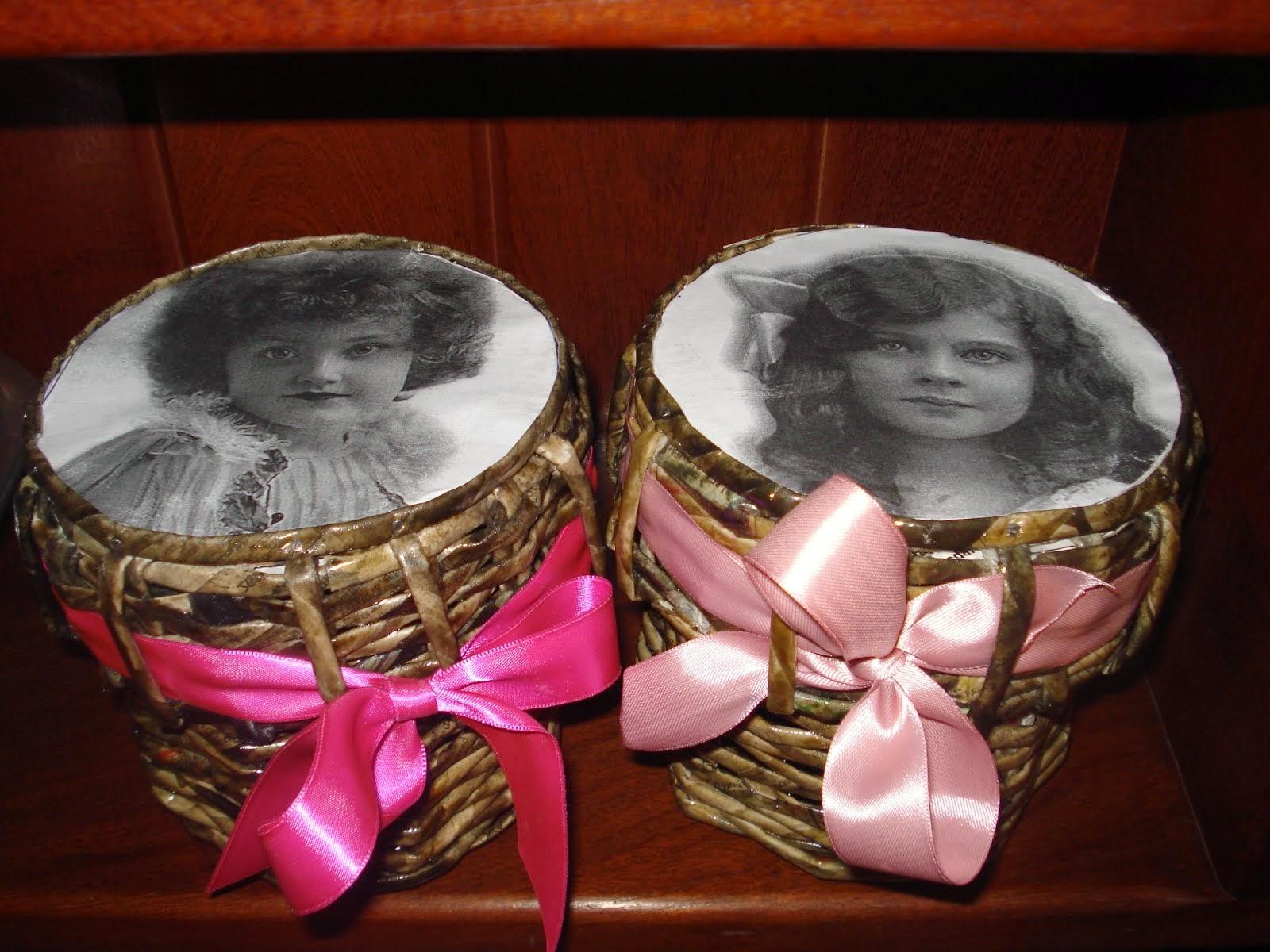 Cajas Vintage ,tejidas con papel