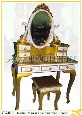 Meja Rias Ukiran Jepara Kartini Mawar Kayu jati cat Duco marmer dan emas Jakarta