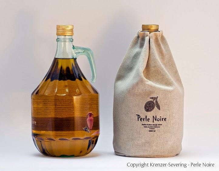 Perle Noire Nachfüllflasche mit 2000 ml Perle Noire Olivenöl und schöner Lichtschutzhülle
