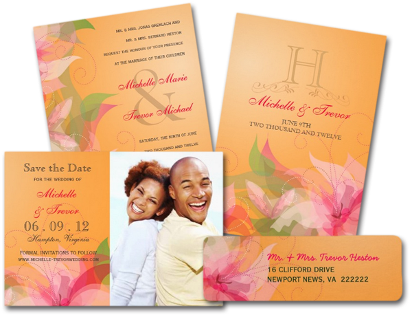 Tangerine Floral Wedding Invitations