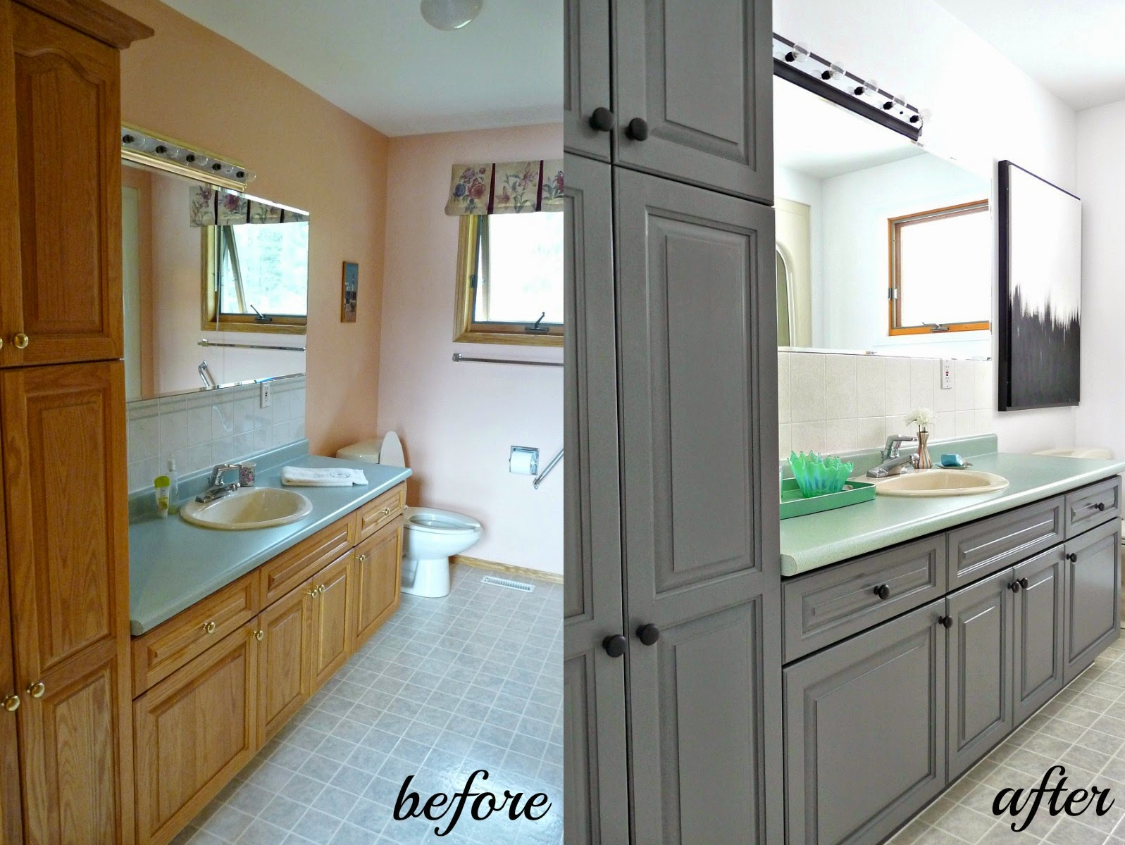 Painting Bathroom Cabinets Gray cabinet refinishing 101: latex paint vs. stain vs. rust-oleum