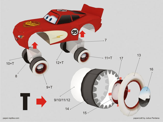 paper craft cars rayo mcqueen