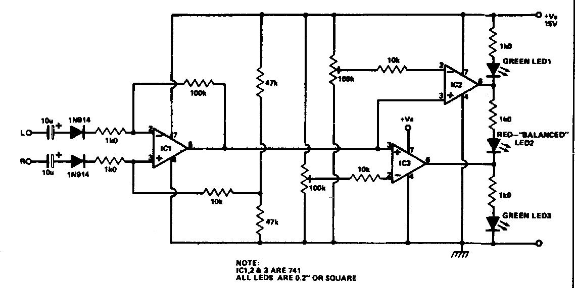 amplifiercircuits com  stereo balance meter