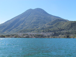 Looking at San Pedro with Volcan Holiman in the background, Lago Atitlan