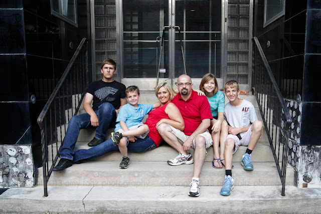 urban family portrait in downtown Terre Haute, In
