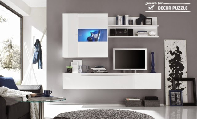 wall mounted TV wall unit designs with lights