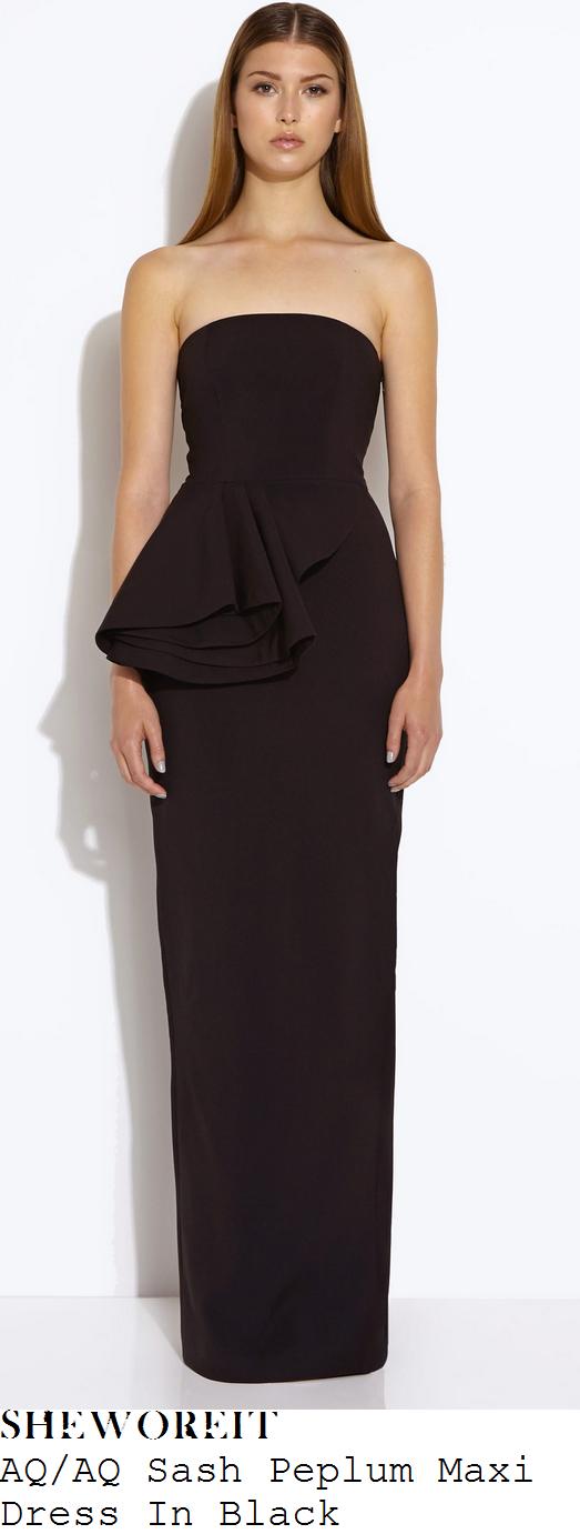 leigh-anne-pinnock-black-strapless-peplum-fold-detail-maxi-dress-centrepoint