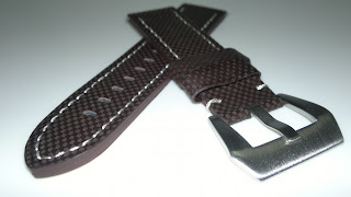 22/22 Dark Brown Chequered Design Leather Strap