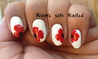Red Poppies on White Nail Art