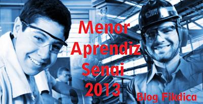 SENAI MENOR APRENDIZ 2013 BH INSCRIÇÃO