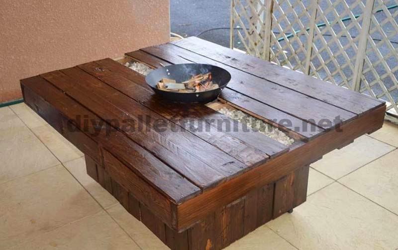 Mesa de jard n con brasero de palets for Mesas de palets para jardin