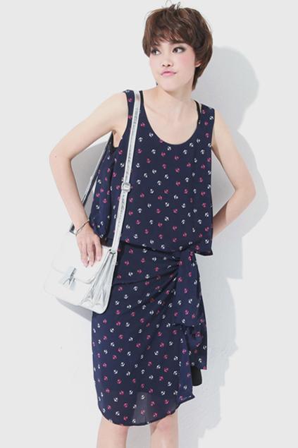 Anchor Print Dark-blue Dress