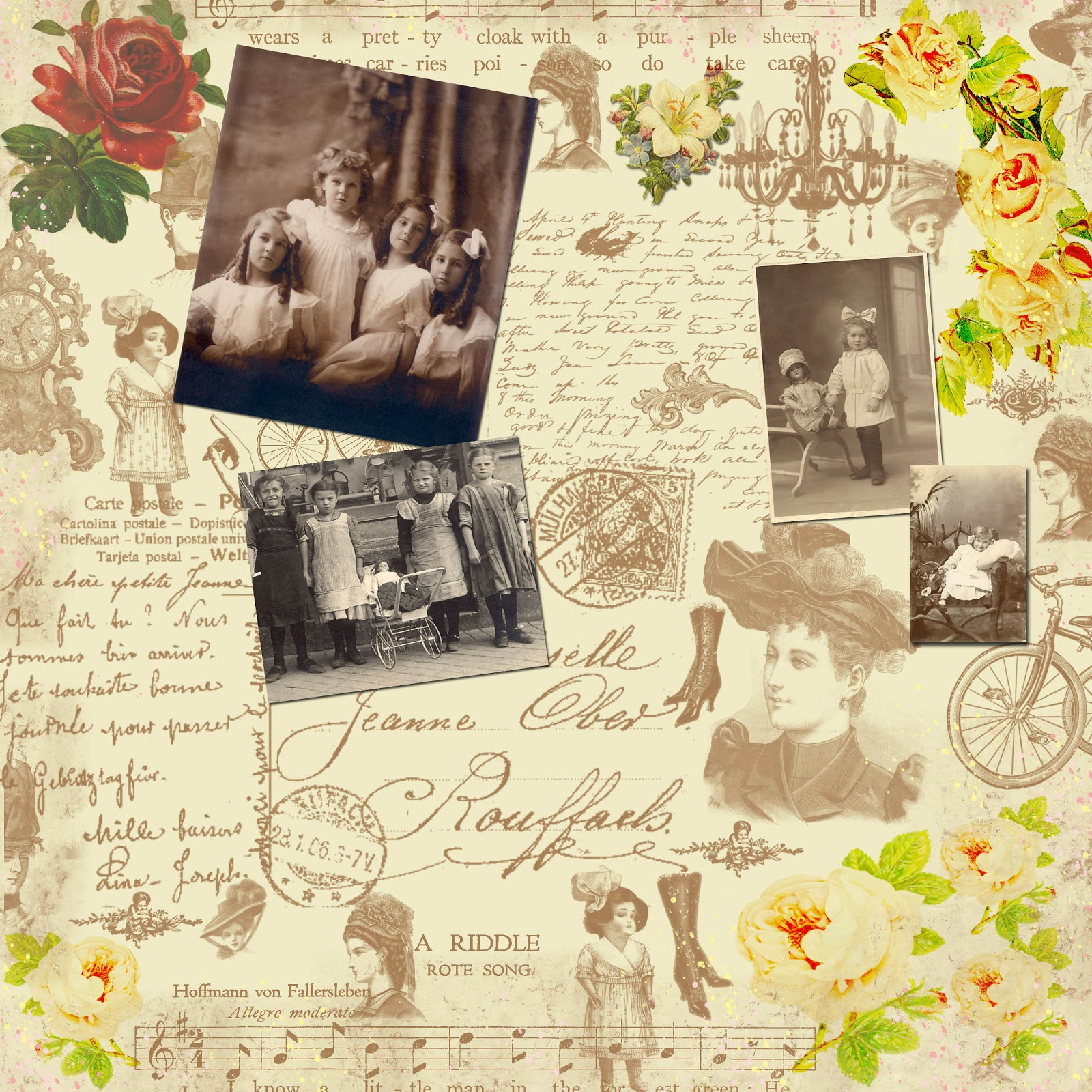 ... Amour: Free Digital Scrapbook paper - Sweet Victorian Collage