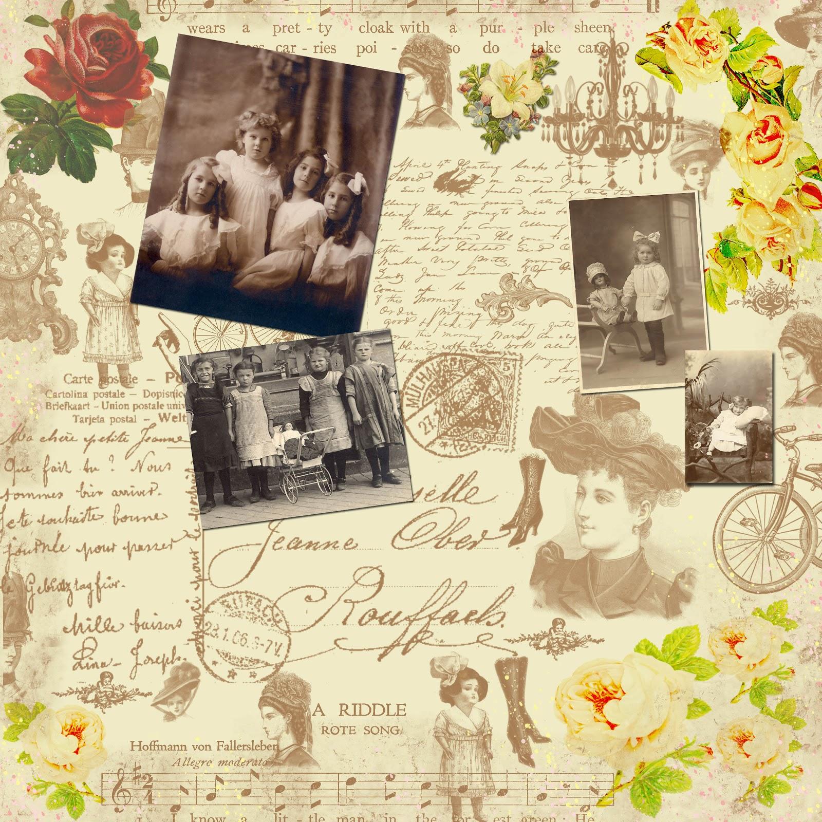 Scrapbook paper collage - Free Digital Scrapbook Paper Sweet Victorian Collage