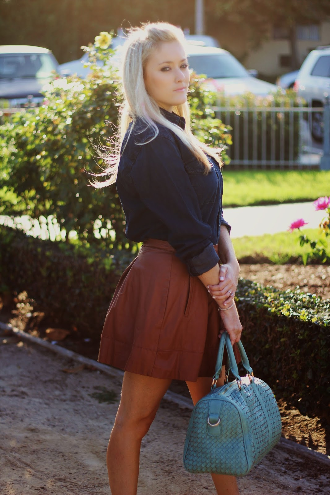 Leather Skater Skirt, Chambray Shirt, J Crew Necklace