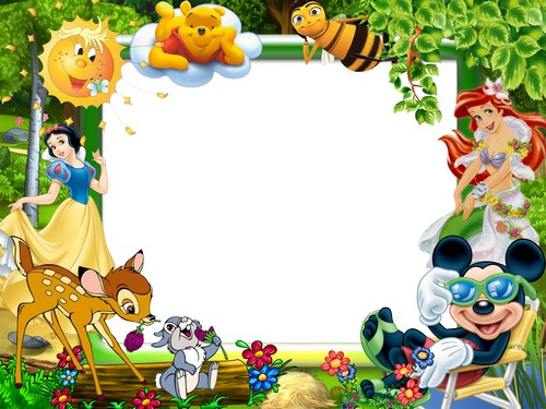 Border Design Disney Character : Çizgi film psd Çerçeve photoshop fonlar
