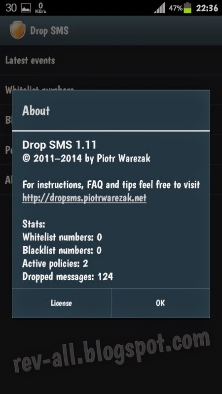 Tentang Drop SMS - aplikasi android anti sms bomber, anti duplicates, dan anti spam ringan dan kecil (rev-all.blogspot.com)