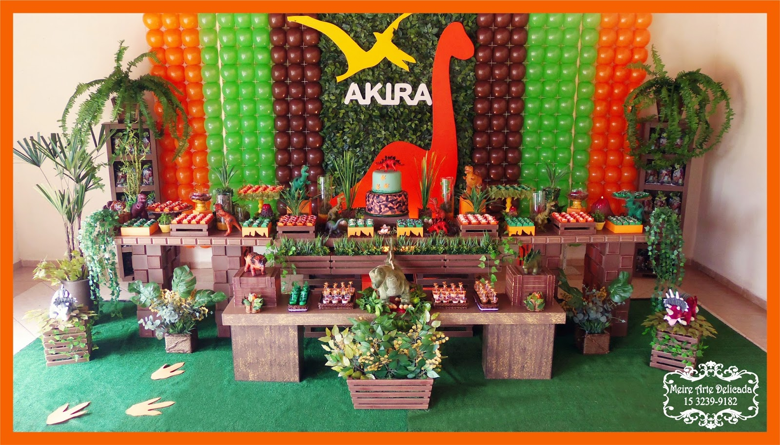 decoracao festa rustica:Meire Arte Delicada: Decoração de festa infantil dos Dinossauros na