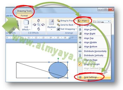Gambar: Cara Menampilkan dialog Drawing Grid untuk mengaktifkan, mengedit atau mengatur grid dan snap objects di Microsoft Word