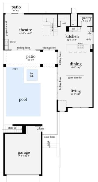 en el plano de la planta baja encontramos un gran living el comedor la cocina un bao el lavadero el garaje y una sala de estar
