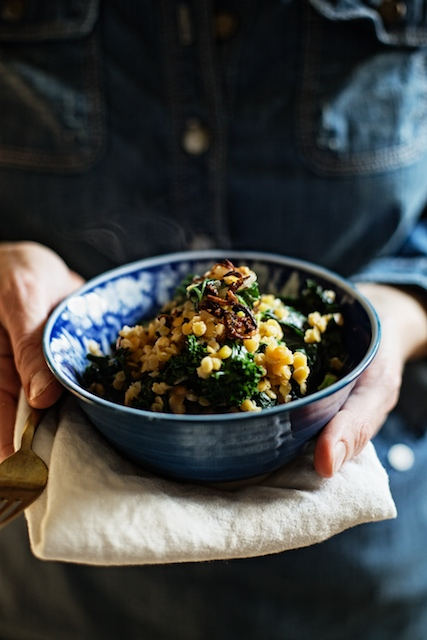 Red Lentils & Kale with coconut, ginger & crispy shallots recipe