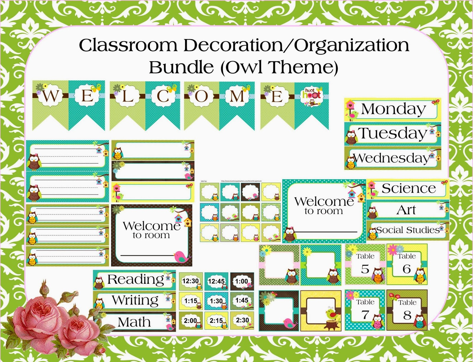 http://www.teacherspayteachers.com/Product/Classroom-Decoration-Bundle-Owl-Theme-615819