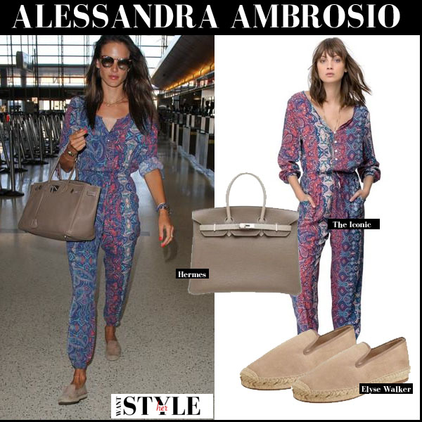 Alessandra Ambrosio in blue paisley print jumpsuit with beige Birkin bag streetstyle august 31