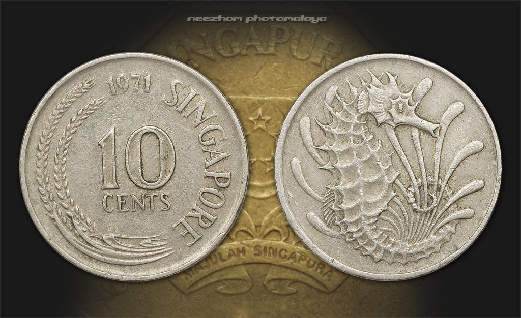 Koleksi duit syiling Singapura 10 cents tahun 1971 Seahorse