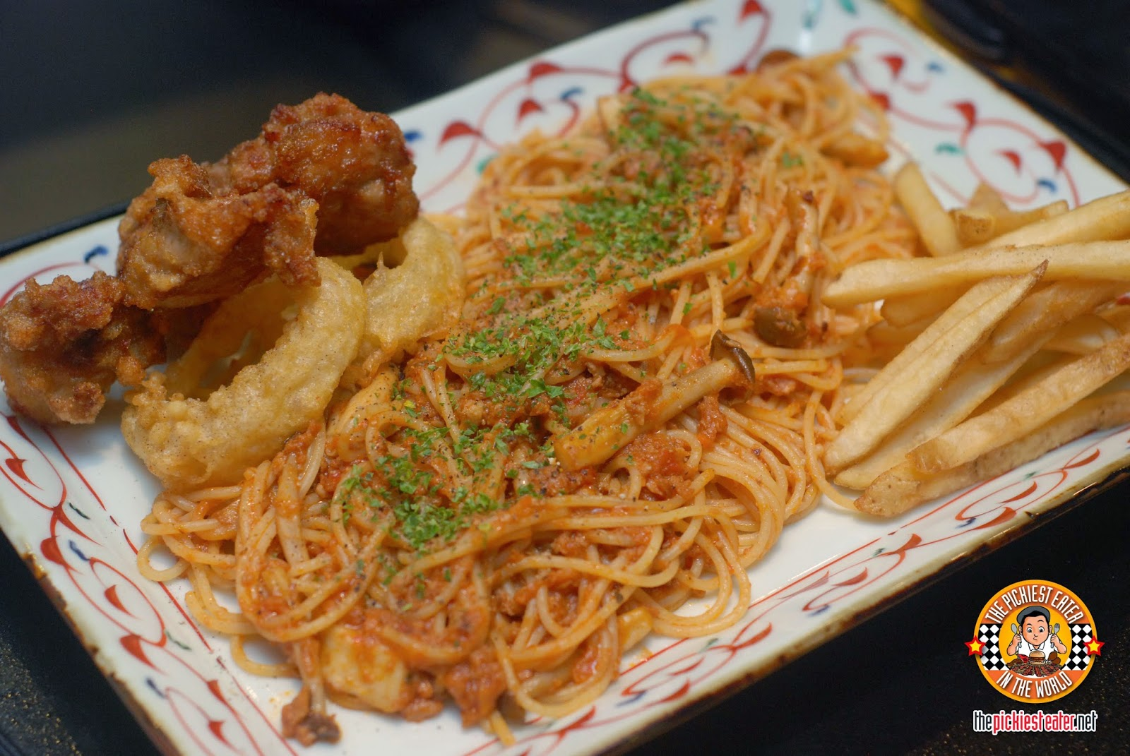 goemon fried chicken and meatsauce