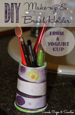 DIY Make-up & Brush Holder from a yogurt cup