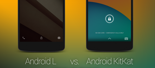 Visual Comparison of Android L vs Android KitKat Features, Icons, UI Elements, Functionality
