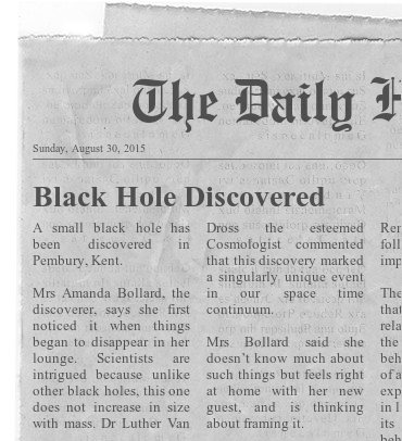 Black hold newspaper clipping funny picture