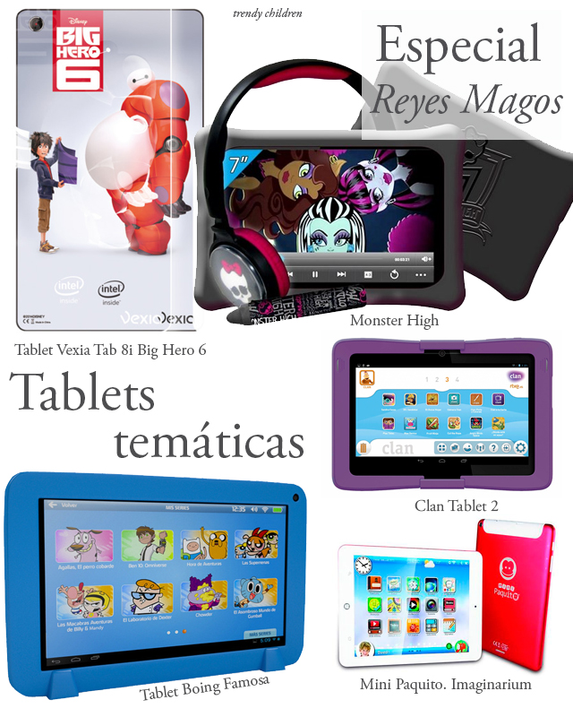 tablet vexia tab 8i big hero 6, monster high, boing famosa, clan 2, mini paquito imaginarium