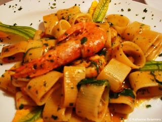 Pasta with Shrimp and Zucchini Flowers at A Beccafico
