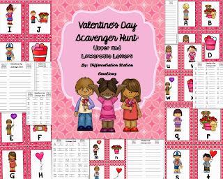 http://www.teacherspayteachers.com/Product/Valentines-Alphabet-Scavenger-Hunt-Upper-and-Lowercase-Center-Printables-1044562
