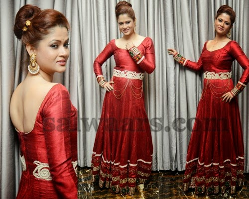 Shilpa Chakravarthy Floor Length Red Kameez